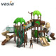 2019 high quality forest theme outdoor amusement playground fence plastic slide