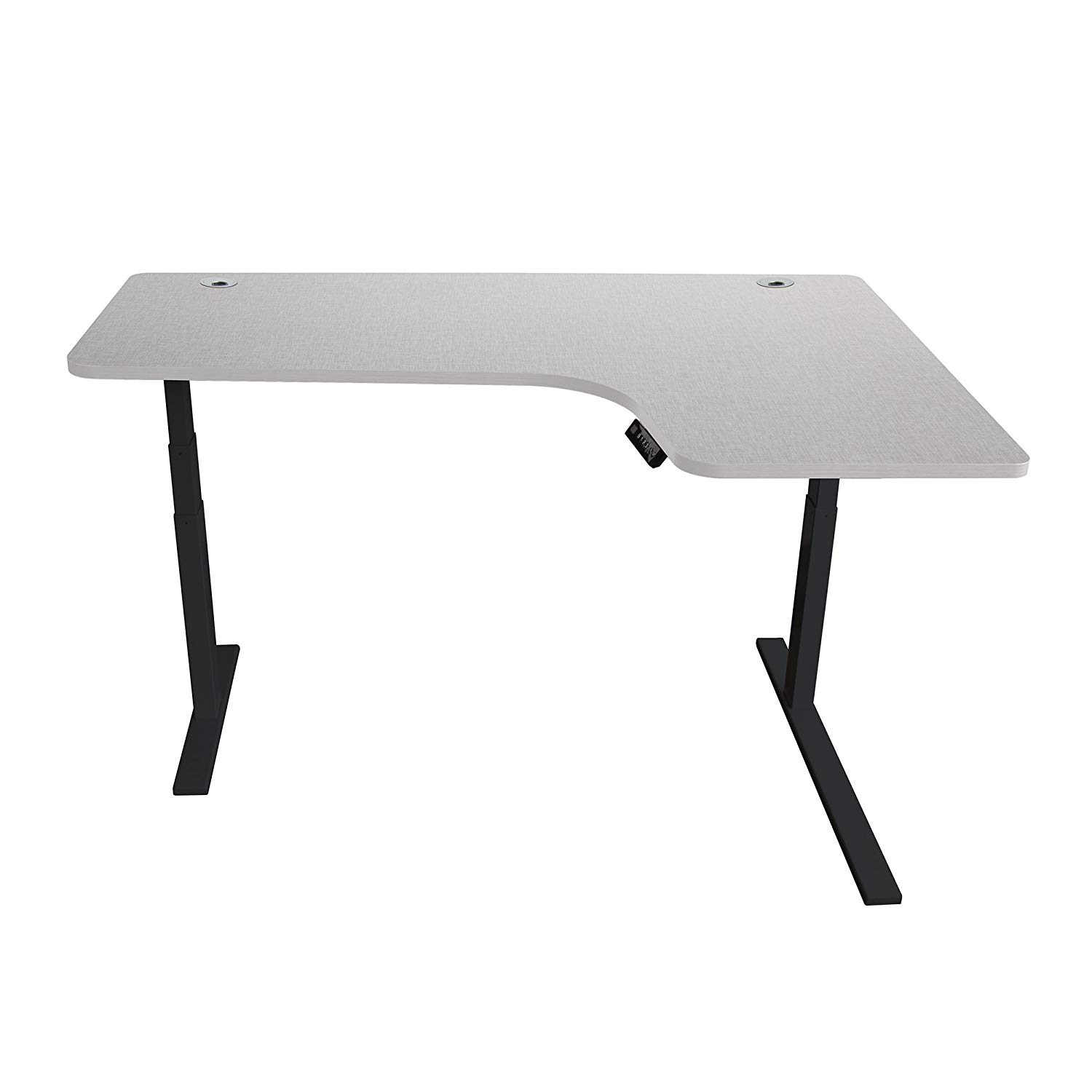 Caesar Hardware AB3-63LA Ergonomic 63-in 3 Memory Buttons LED Electric Automatic Height Adjustable Sit to Stand L-Shaped Corner Work Office Desk with Black Legs, Off White Maple
