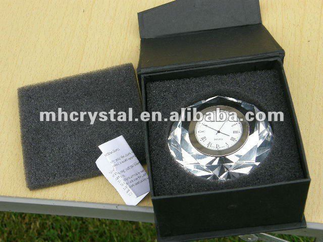 Crystal Glass Diamond Shaped Gem Paperweight with Quartz Clock MH-9376