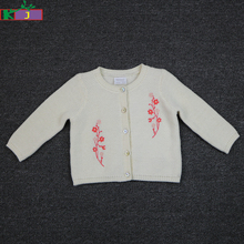 baby custom clothing Long Sleeve baby girls embroidered sweater knitted cardigan