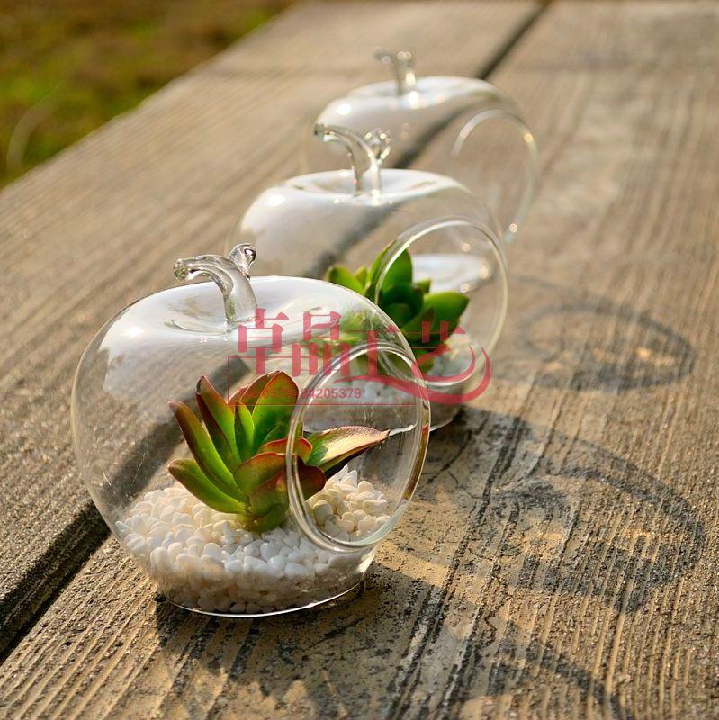 gratuit par ems 64 pcs lote d coration en forme de pomme en verre transparent vase fleur vase. Black Bedroom Furniture Sets. Home Design Ideas