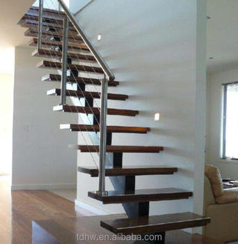 Mono Stringer Stair With Timber Step And Wire Railings