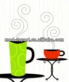 cups still life table canvas design
