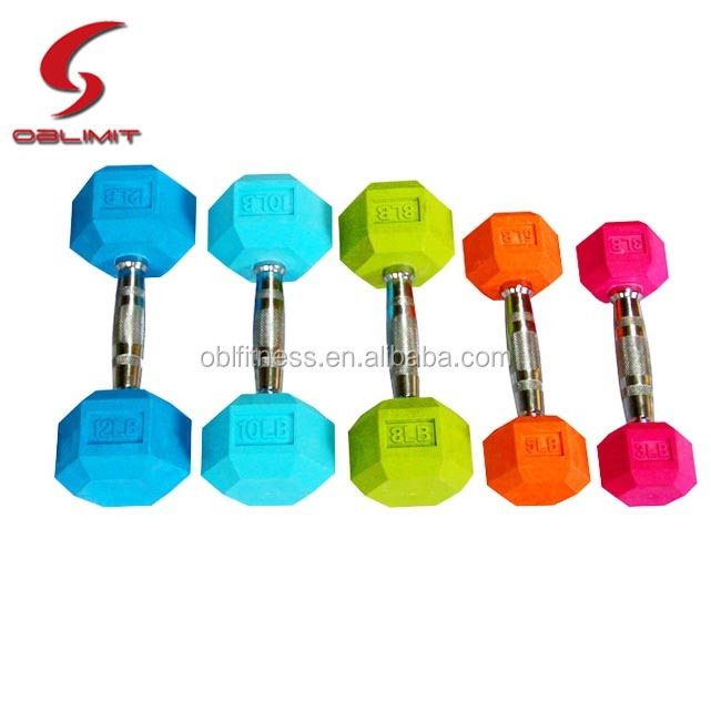 Wholesale Crossfit Gym Equipment Colorful Rubber Coated Hex Dumbbell With Chromed Steel Handle