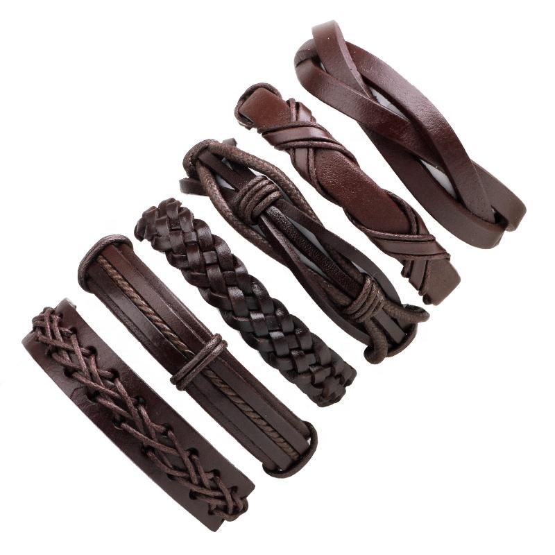 Vrouwen Mannen Multilayer Lederen Armbanden Set, Verstelbare Lagen Pu Lederen Armbanden