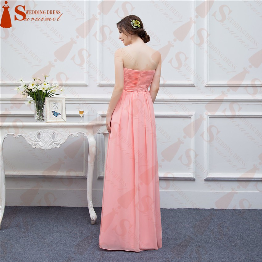 2016 Free Shipping Bridesmaid Dresses Coral Chiffon Sweetheart Cheap Brides Maid Dress Real Photo