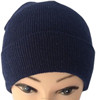 Winter adult wholesale acrylic polyester thick knit ski cuff beanie solid plain cheap beanie hat