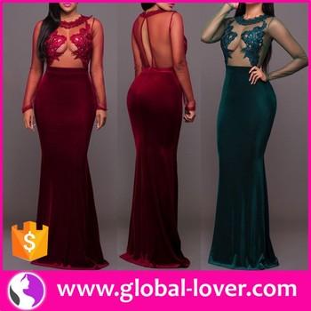 f7479200aa 2017 new design elegant women velvet long prom dress long sleeve maxi dress