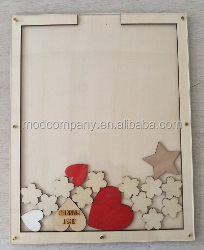 Personalized Wooden Drop Box With Wooden Hearts For Rustic Wedding