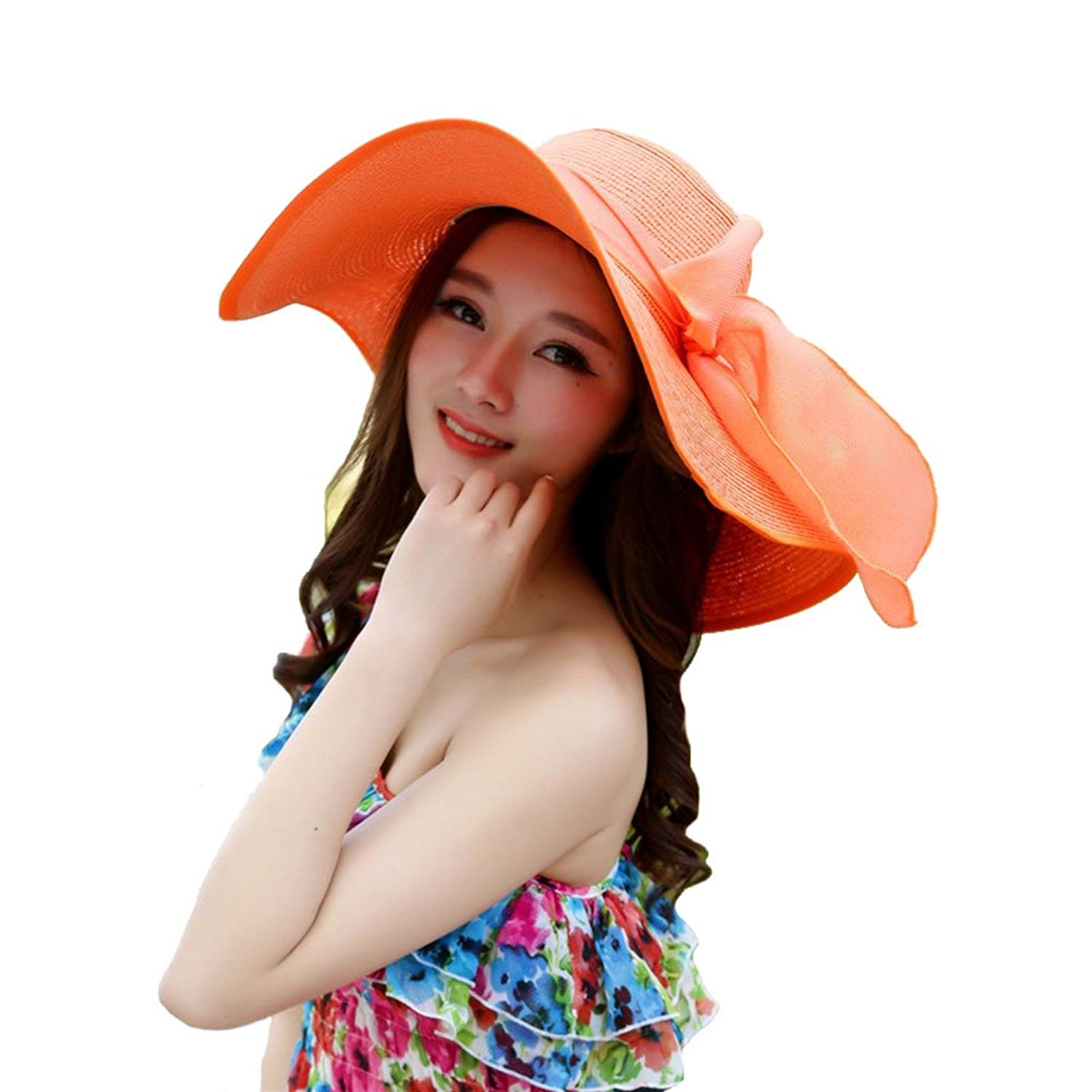 e0cdca1775b8d Get Quotations · Sunscreen Beach Folding Beach Female Beach Vacation Travel  Sun Straw Hat A