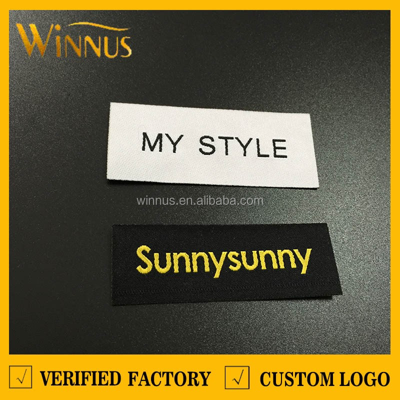 custom brand name logo iron-on garment clothes apparel heat seal woven label embroidered fabric iron on labels for clothing hat