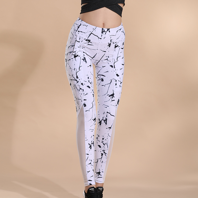Fashion Print Streamer Yoga Pants New Popular Black And White Color Optional