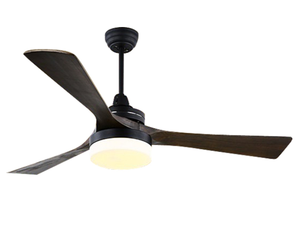 52 inch Ceiling fan solid wooden blade with LED light American village style, AC copper motor remote control or wall control