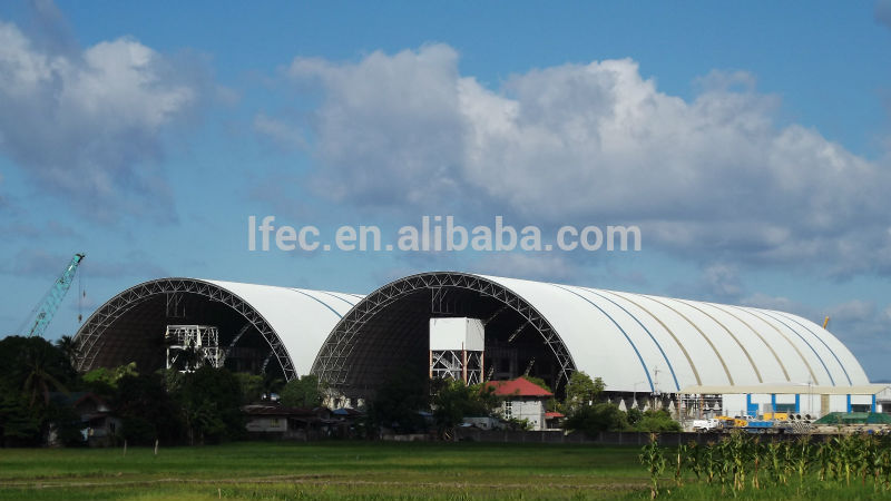 Long span waterproof storage shed for barrel coal storage