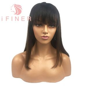 iFiner Summer Natural Color 100% Straight 14inch Bob Front Fringe Human Hair Lace Wigs With Bangs For Black Women