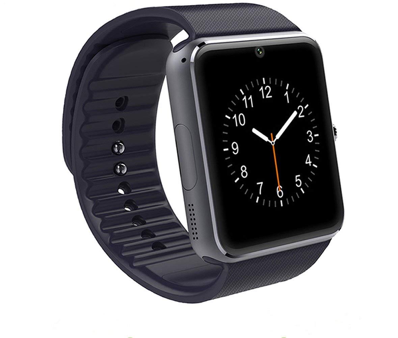 SHENGMO Original Smart Watch GT08 Clock Sim Card Slot Push Message Bluetooth Connectivity Android IOS apple Phone pk F69 DZ09 Smartwatch (black)