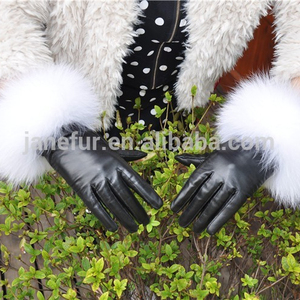 2017 NEW women's leather lambskin winter warm soft fox fur cuffs gloves/ mittens