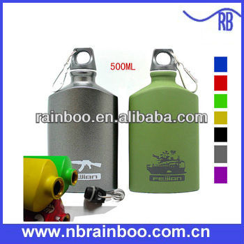 Hot selling FDA food safety flat shape 600ML aluminium flatl water bottle with carabiner
