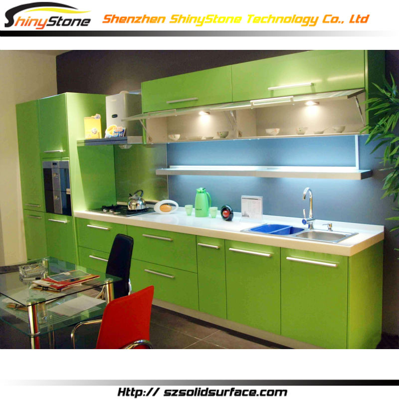 Bergaya Modern Warna Hijau Dapur Kabinet Dapur Modern