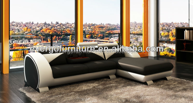 heated France furniture design leather corner sofa chaise with down coffee table