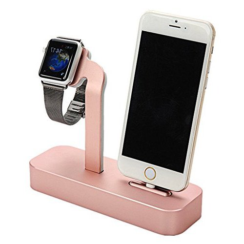 Taotree Apple Watch & iPhone Stand, 2 in 1 Aluminum Desk Charging Station, Apple Watch Charging Stand Cradle Holder Dock for iWatch 38mm/42mm, Premium Charging Stand for iPhone (Rose Gold)