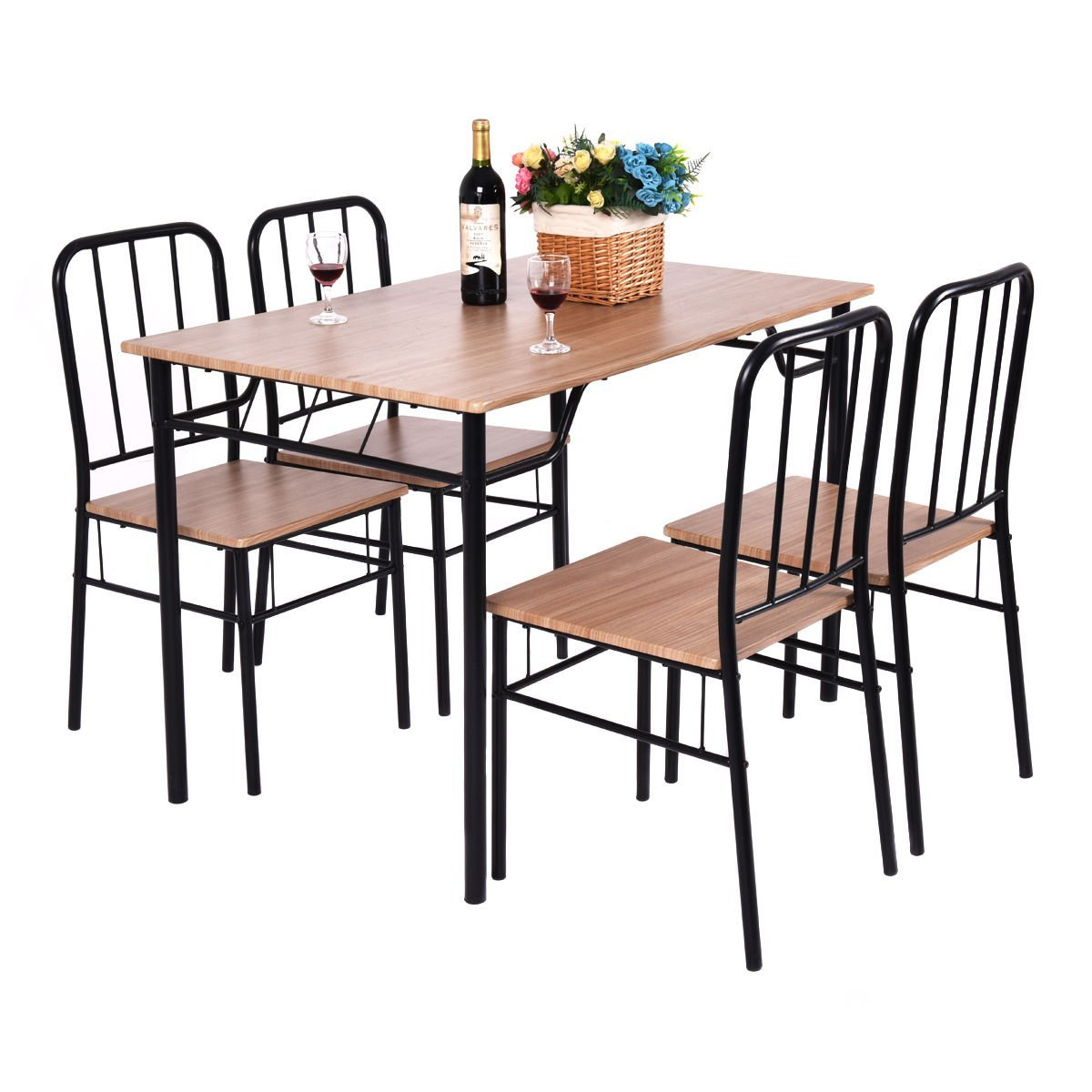 Get Quotations · Globe House Products GHP 4 Pcs MDF PVC Iron Kitchen Dining  Chairs With 1