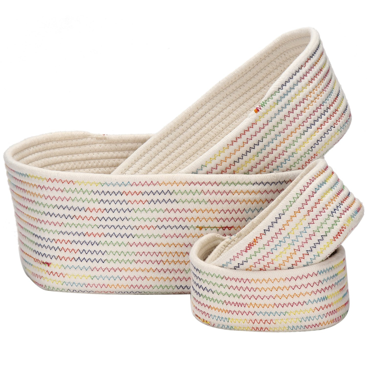 Get Quotations · Sea Team Flat Natural Cotton Thread Woven Coiled Rope Storage  Baskets Bins Organizers For Nursery Kidu0027s