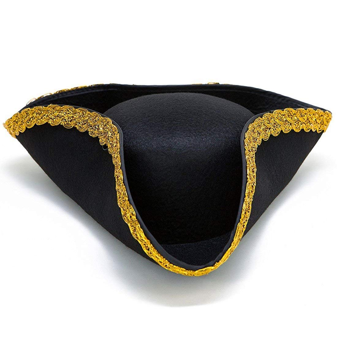 Toy Cubby Colonial Tricorn Hat - 17th Century Revolutionary War Pirate Hat Costume Accessory - Party Favor Dress up Hat - Single Pack - Black with Gold Trim