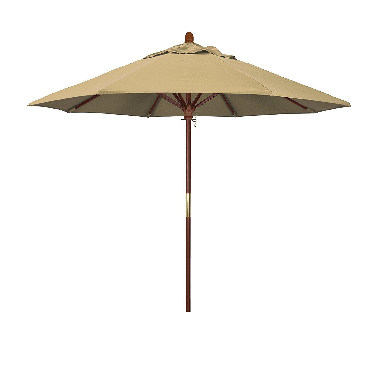 California Umbrella 9' Round Hardwood Frame Market Umbrella, Stainless Steel Hardware, Push Open, Champagne Olefin