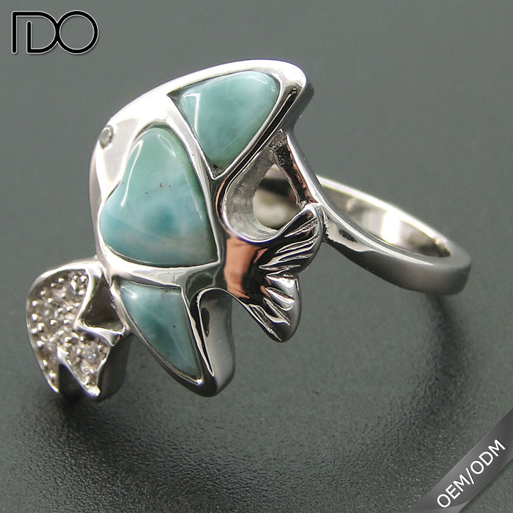 Superior quality classic larimar silver rings jewelry