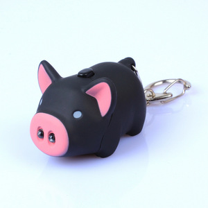 Wholesale fashion mini pig 2 leds flashlight keychains
