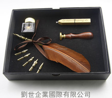 High quality Retail Box brown feather dip pen,feather Fountain pen set with seal stamper and WAX,business gift