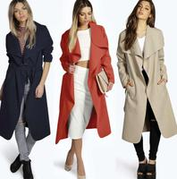 zm34099a latest design ladies long coat simple women trench coat