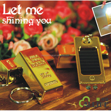 Low Moq for promotional product and Gold Decor in Gold Bullion Gold Bar Shape Rechargeble Solar Torch LED light LED Keychain