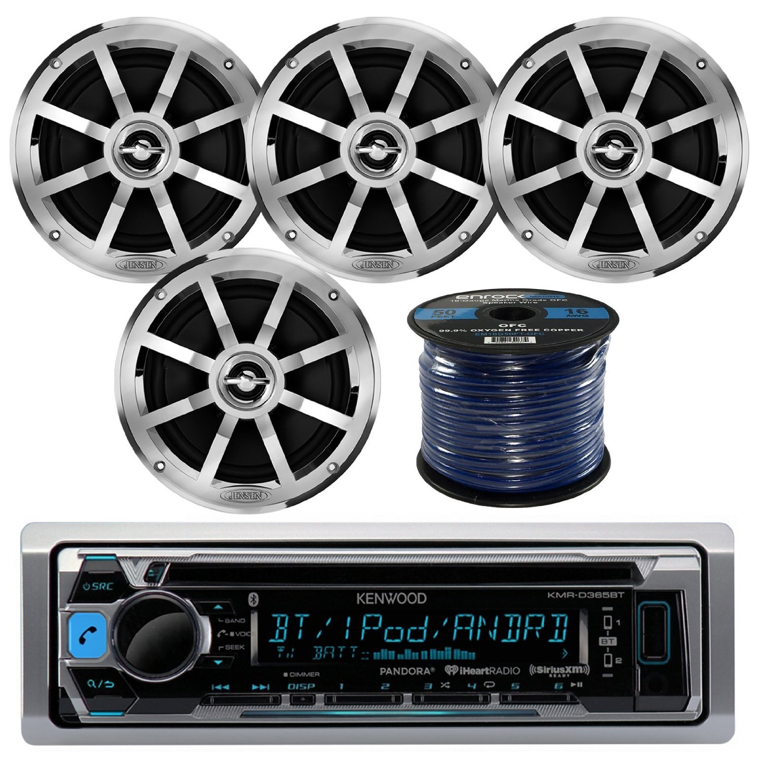 "Kenwood KMR-D365BT MP3/USB/AUX Bluetooth Marine Boat Yacht Stereo Receiver CD Player Bundle Combo W/ 4x Jensen MSX60CPR 6.5"" Inch 2-Way Coaxial Speakers + Enrock 50 Foot 16g Speaker Wire"