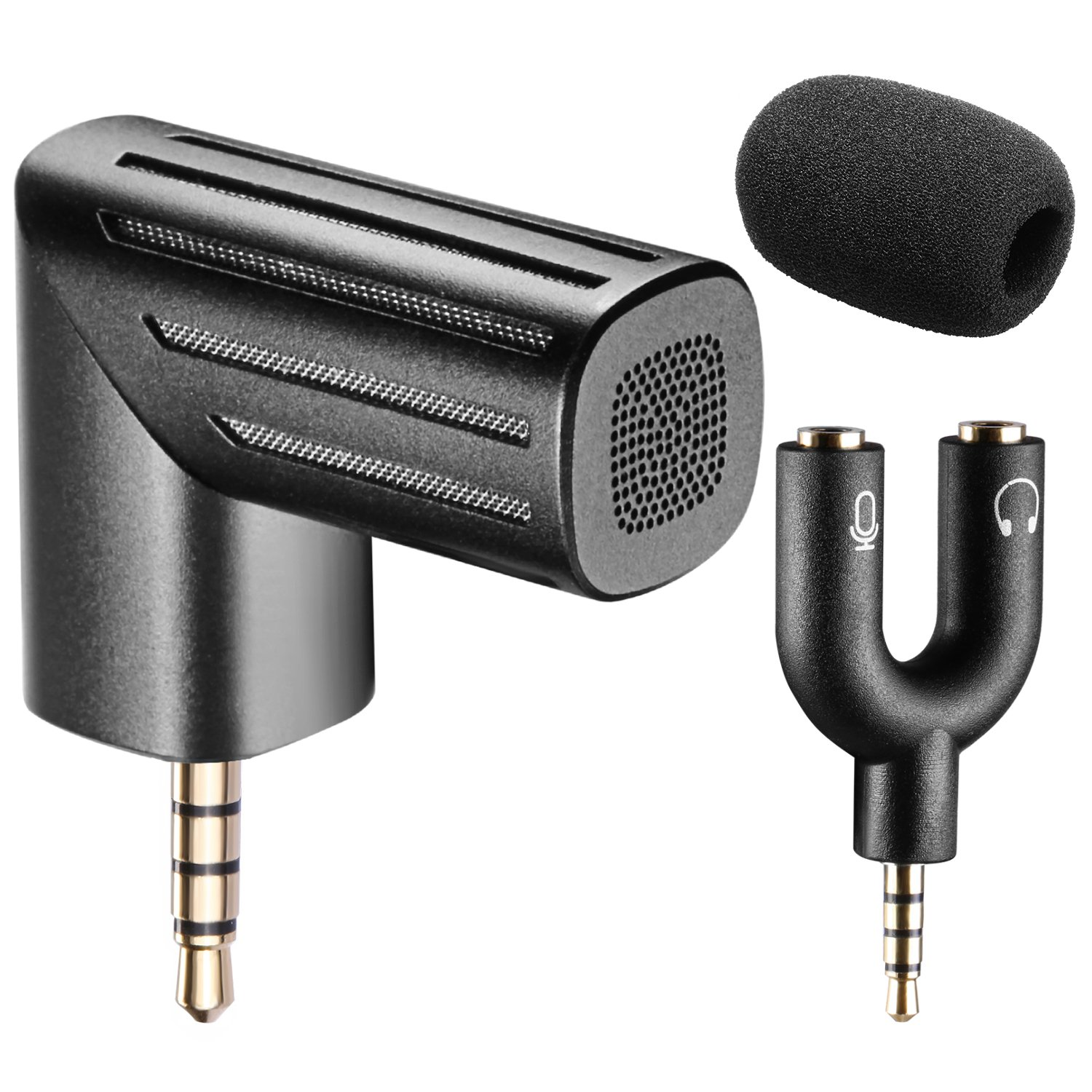 Neewer 90 Degree Rotational Microphone with U Shape 3.5MM Mic & Headset Y Splitter and Microphone Windscreen for iPhone/iPad and Android Smart Phones, Black