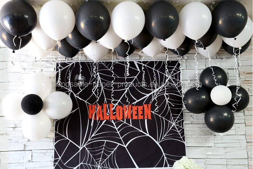 halloween party supplies decorations 12in black white halloween ghost printed party latex balloons party decorations - Black And White Halloween Party