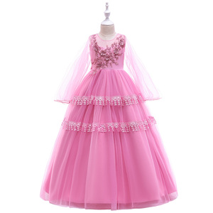 Girls Princess Dress Deluxe Elegant Flower Ball Gown Kids Wedding Evening Dresses For Party LP-216
