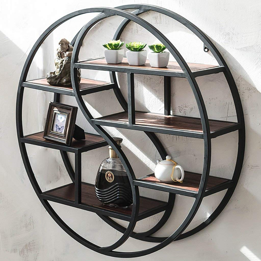 Gspsgj Wall-Mounted Wrought Iron Racks, Vintage Round Display Shelf, Creative Solid Wood Shelves, partition Wall Decoration