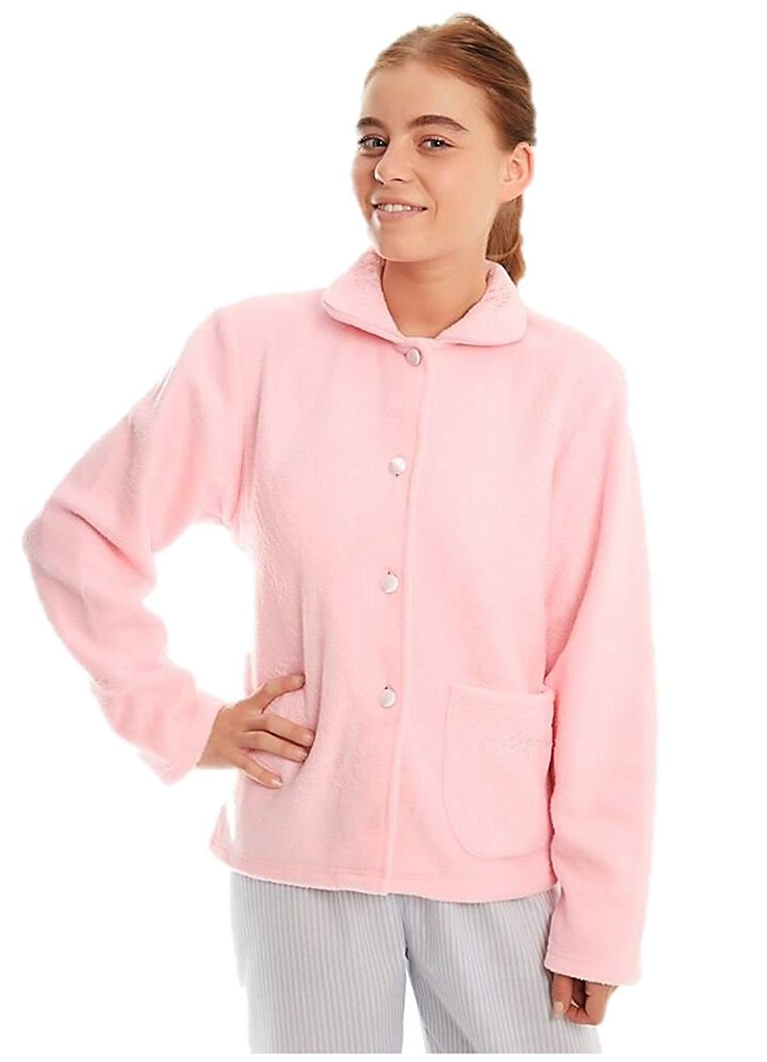 0eaa8313b7 Get Quotations · ladies fleece bedjacket traditional button nightwear  housecoat