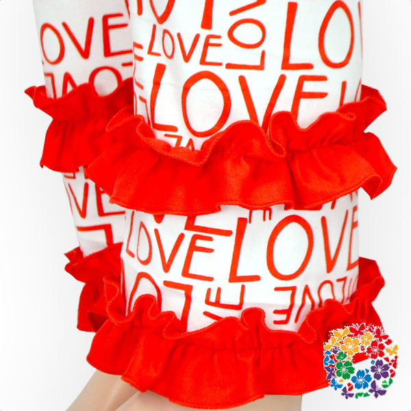 Hot Fashion Baby Girl Valentines Day Ruffle Pants Love Prined Valentine Double Ruffled Pants Girls Wholesale Kids Ruffle Pants