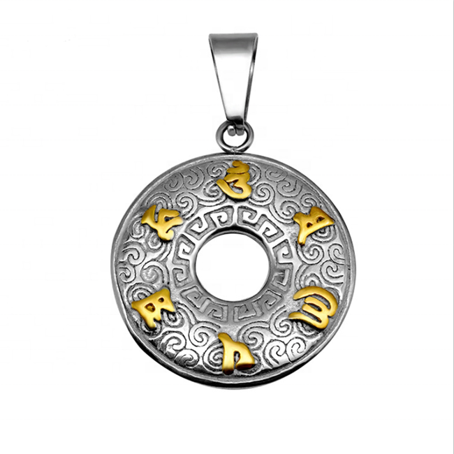 Yiwu Aceon Stainless Steel Casting Gold Steel Thick Washer Mantra Amulet <strong>Pendant</strong>
