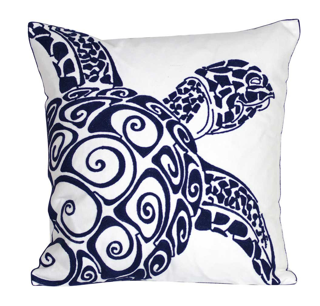 DECOPOW Embroidered Cute Nautical Animal Pillow Covers,Square 18 inch Decorative Canvas Pillow Cover For Nautical Style Deco By (Navy-Sea turtle)