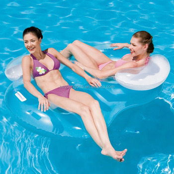 Bestway Inflatable Double Ring Swim Pool Floats Chair With Backrest ...