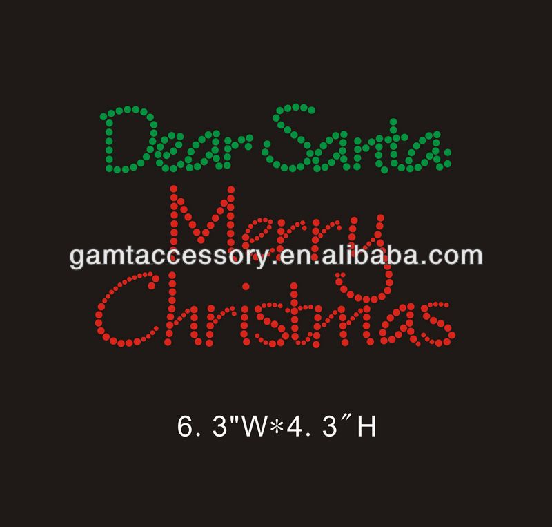 """Dear Santa, merry Christmas"" hot fix motif rhinestone heat transfer"