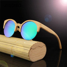 Wholesale high quality fashionable china ce uv400 polarized women mens mirror round semi-rimless wooden frame bamboo sunglasses