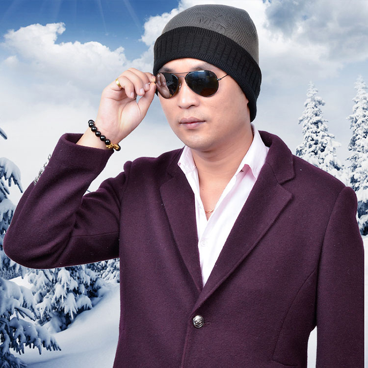 Autumn And Winter Man Outdoors Set Head Skiing Wool Velvet Thickening Keep Warm Knitting Beanie Hat