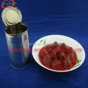 Supply without red color canned strawberry in light syrup, brand canned fruit