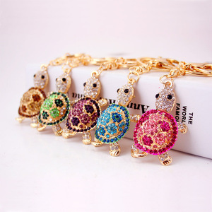 Golden Plated Carton Metal Rhinestone Keychain Animal Cute Tortoise Crystal Pendant Jewelry Key Chain keychain With Key Ring