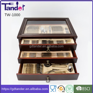 Wholesale 129pcs german gold plated flatware cutlery set in wooden box